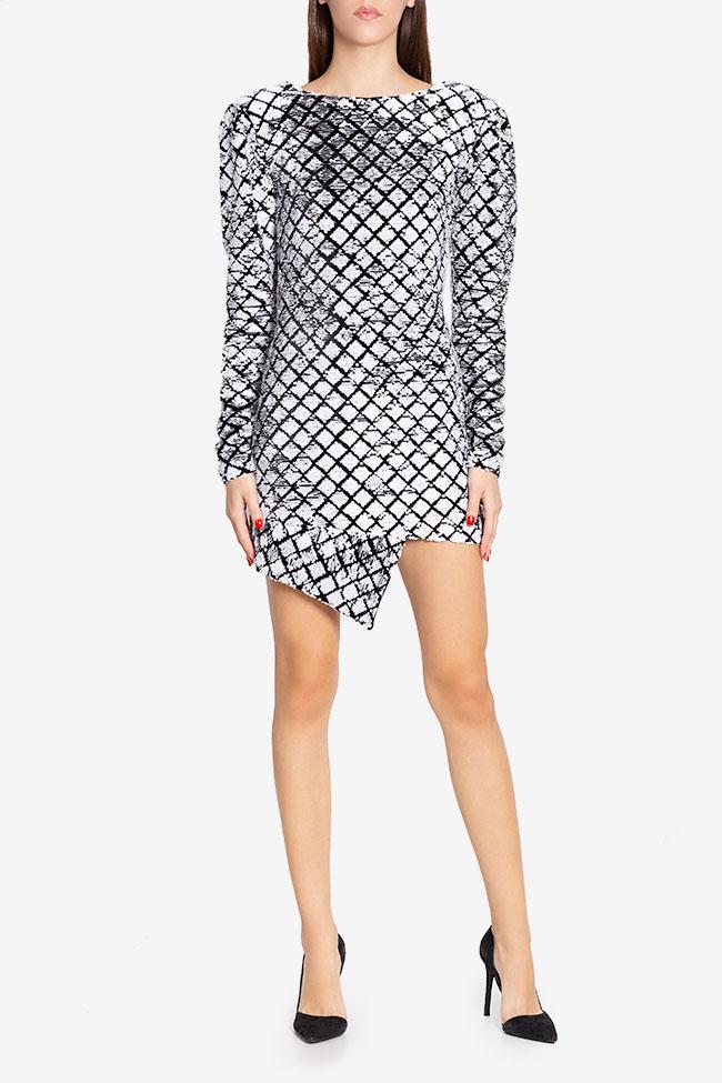 Robe asymétrique en velours orné de sequins Chloe Arllabel Golden Brand image 1