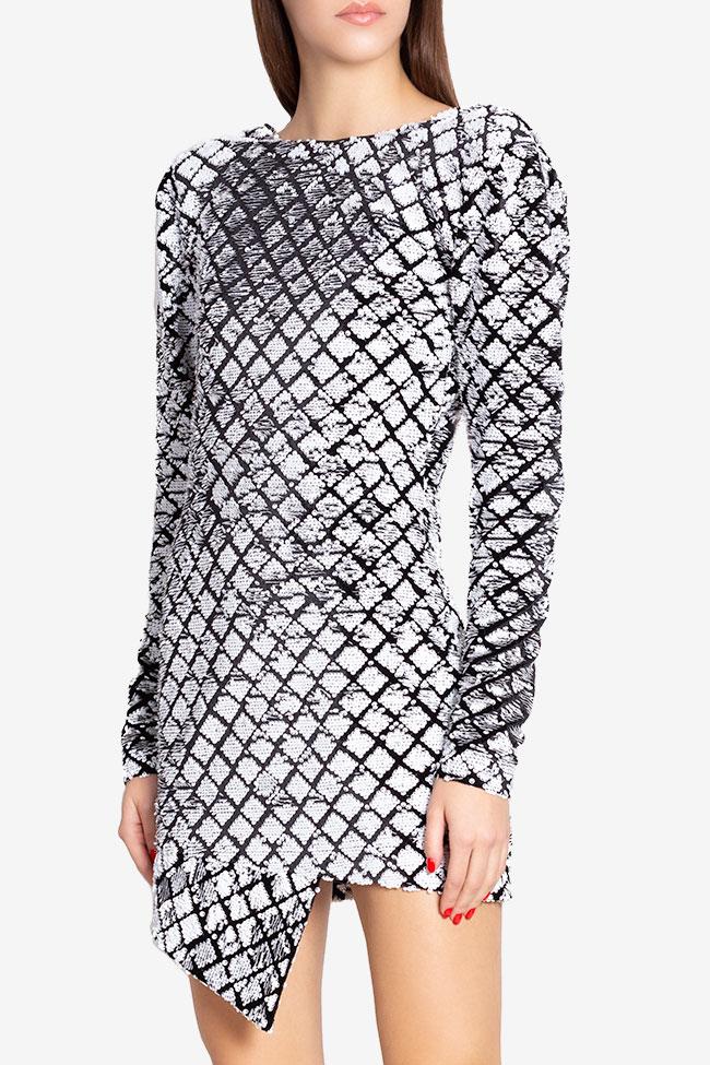 Robe asymétrique en velours orné de sequins Chloe Arllabel Golden Brand image 0