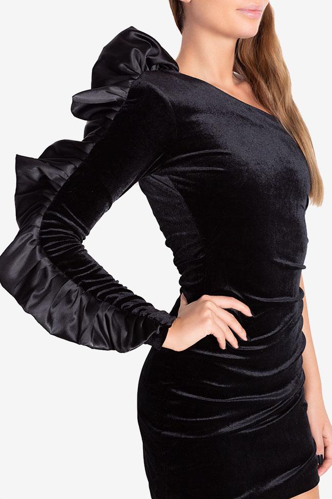 Robe asymétrique en velours avec volants Ruffle Arllabel Golden Brand image 3