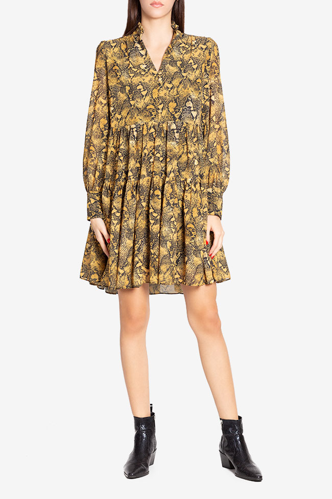 Esel silk-blend crepe mini dress Arllabel Golden Brand image 1