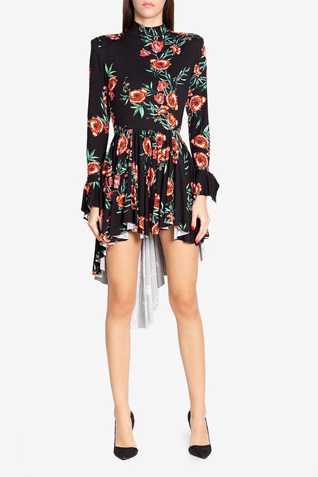 Sara ruffled asymmetric floral-print cotton-jersey mini dress Hard Coeur image 1