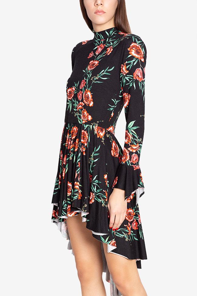 Sara ruffled asymmetric floral-print cotton-jersey mini dress Hard Coeur image 0