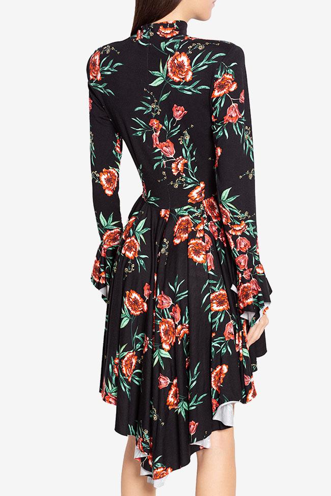 Sara ruffled asymmetric floral-print cotton-jersey mini dress Hard Coeur image 2