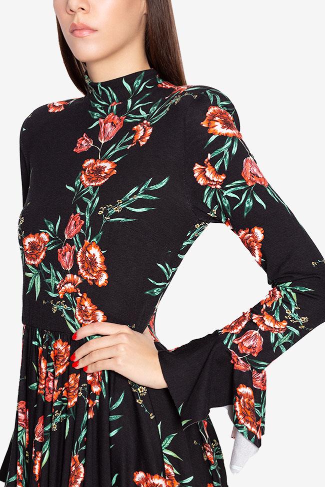 Rochie asimetrica din jerseu din amestec de bumbac cu imprimeu floral Sara Hard Coeur imagine 3