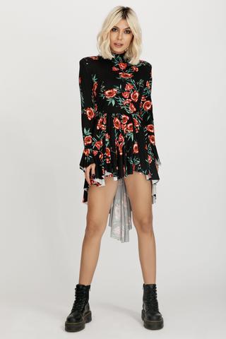 Sara ruffled asymmetric floral-print cotton-jersey mini dress Hard Coeur image 4