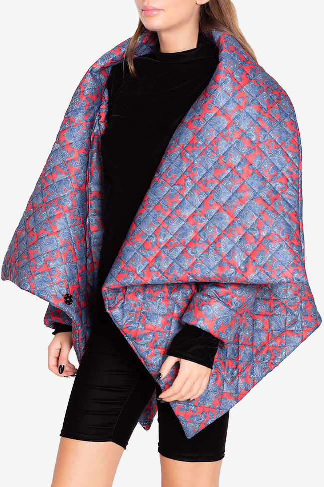 Jacheta asimetrica matlasata din amestec de bumbac Hard Coeur imagine 0