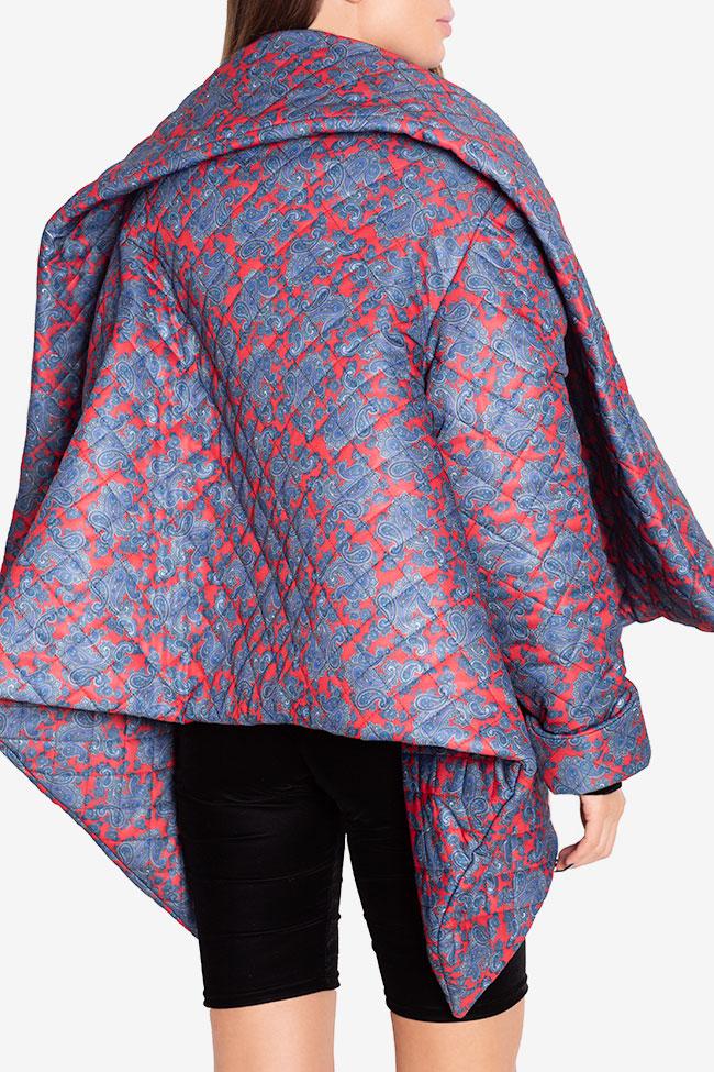 Jacheta asimetrica matlasata din amestec de bumbac Hard Coeur imagine 2