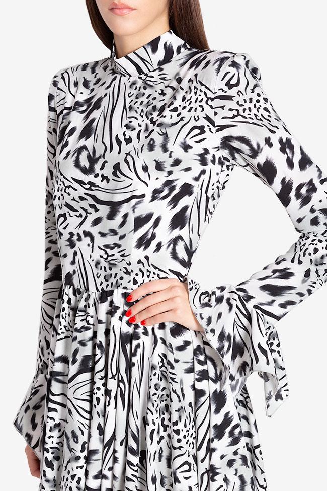Rochie asimetrica din crep cu imprimeu leopard Hard Coeur imagine 3