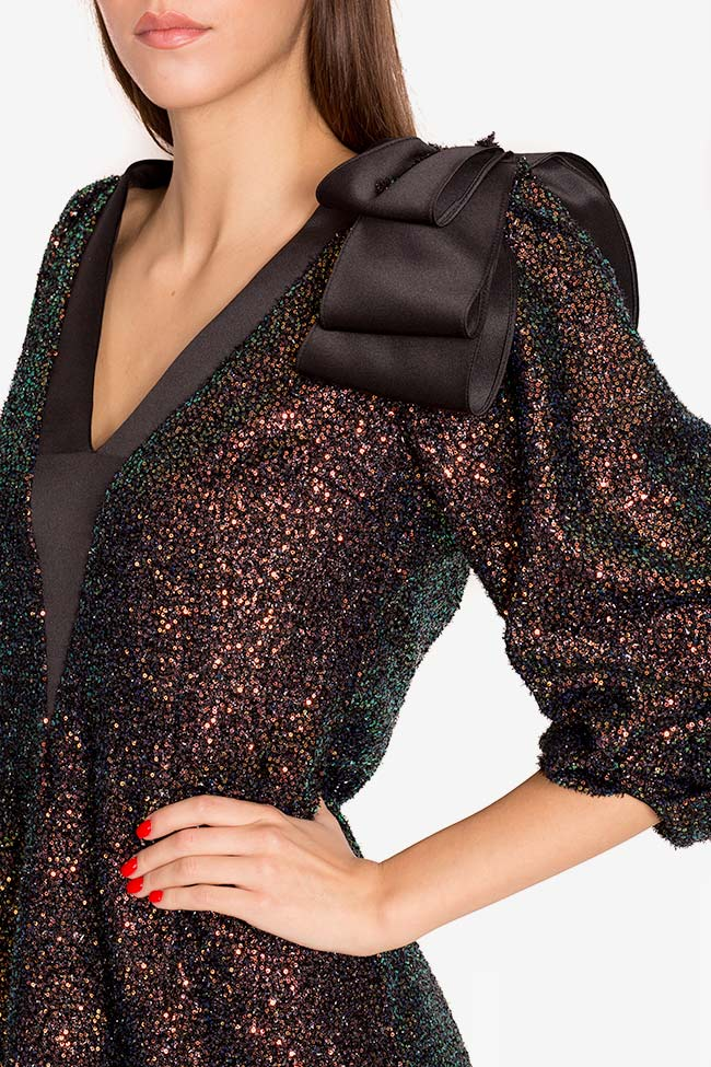 Rochie din paiete cu insertii din tafta Sara Mirela Pellegrini imagine 3