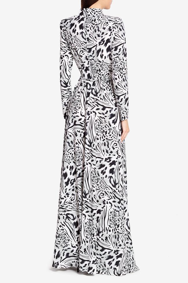 Rochie din crep cu imprimeu leopard Leo Hard Coeur imagine 2