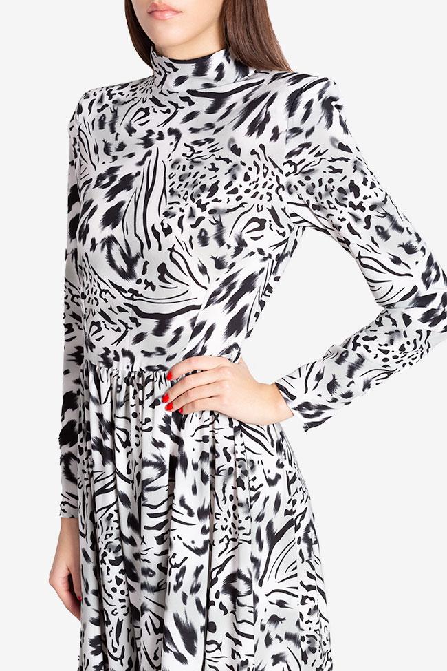 Rochie din crep cu imprimeu leopard Leo Hard Coeur imagine 3