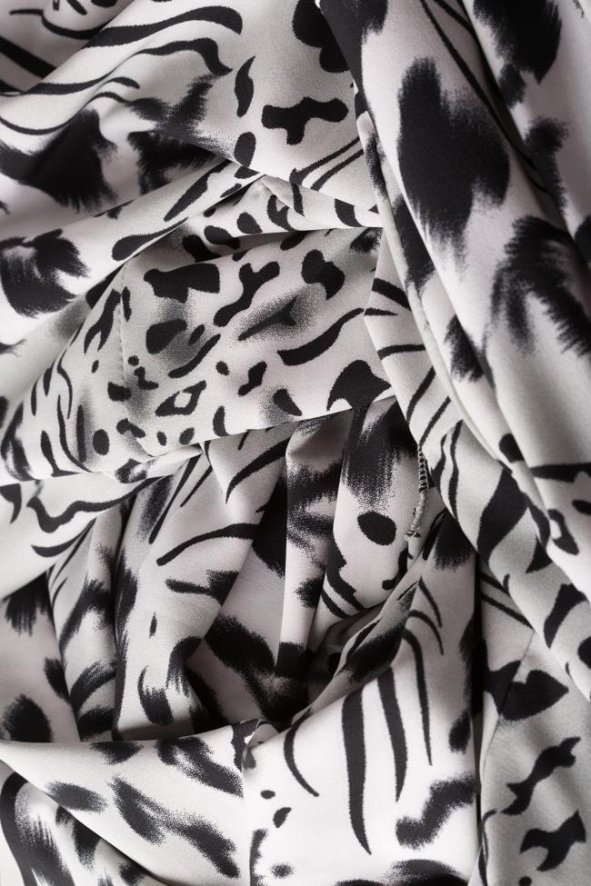 Rochie din crep cu imprimeu leopard Leo Hard Coeur imagine 5