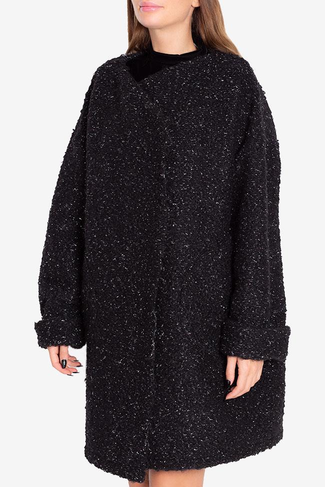 Asymmetric metallic wool-blend cardigan Hard Coeur image 0