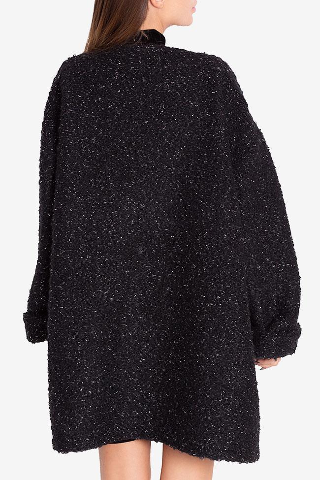 Asymmetric metallic wool-blend cardigan Hard Coeur image 2