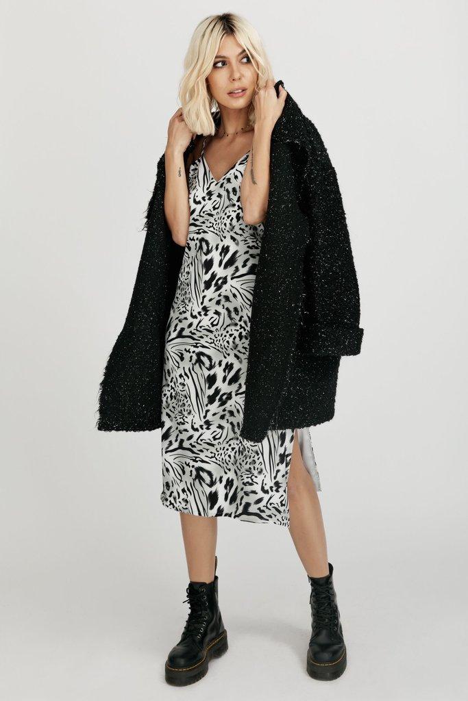 Asymmetric metallic wool-blend cardigan Hard Coeur image 4
