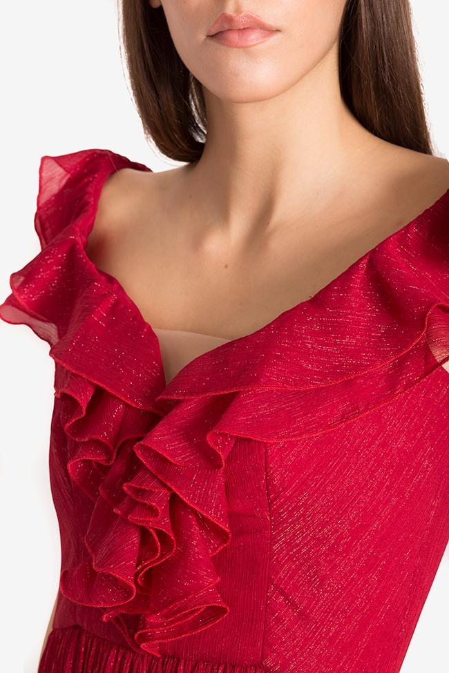 Rochie din voal plisat ornat cu fir lame cu aplicatii brodate manual Soria Maia Ratiu imagine 3