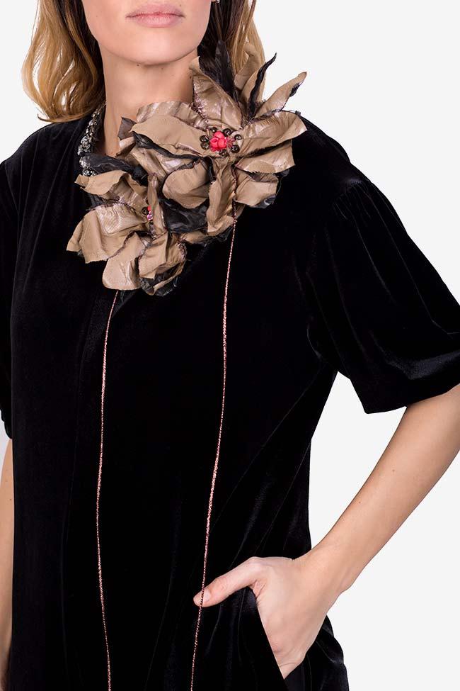 Embellished velvet tafftea jumpsuit Marius Musat image 3
