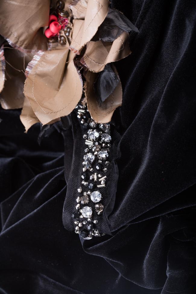 Salopeta din catifea cu aplicatii din tafta ornate cu paiete Marius Musat imagine 4