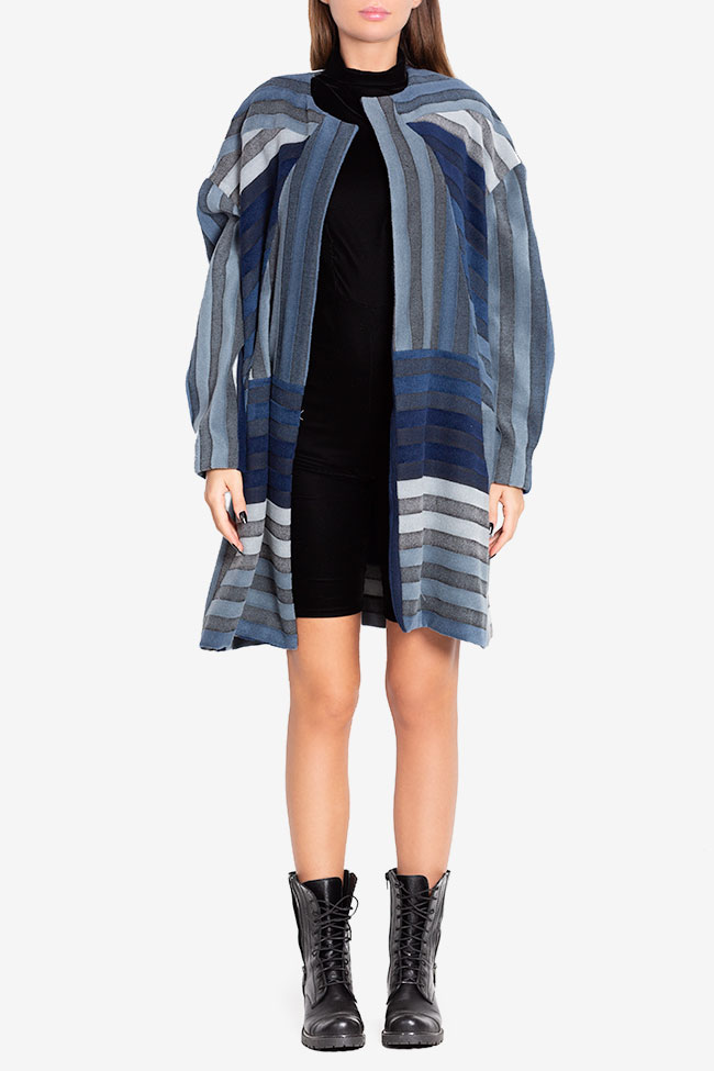 Wool-trimmed denim trench coat LOOMY image 1