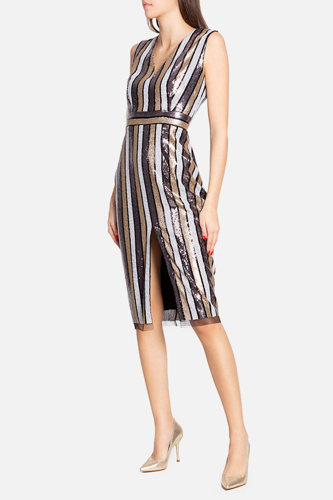 Striped sequined tulle midi dress Ramona Belciu image 0
