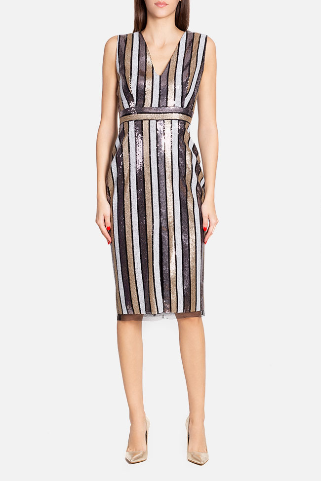 Striped sequined tulle midi dress Ramona Belciu image 1