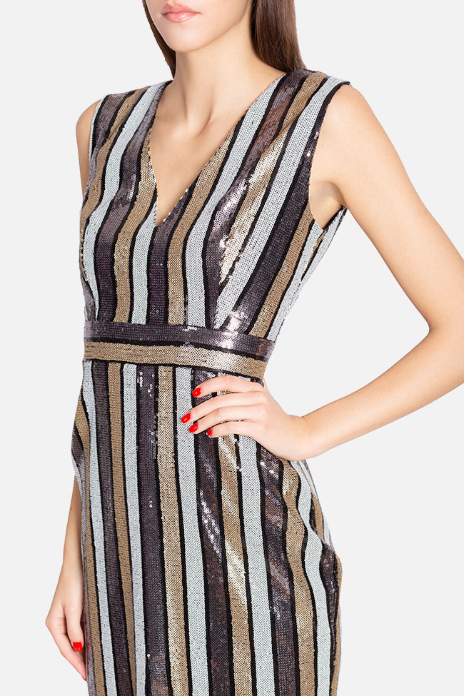 Striped sequined tulle midi dress Ramona Belciu image 3