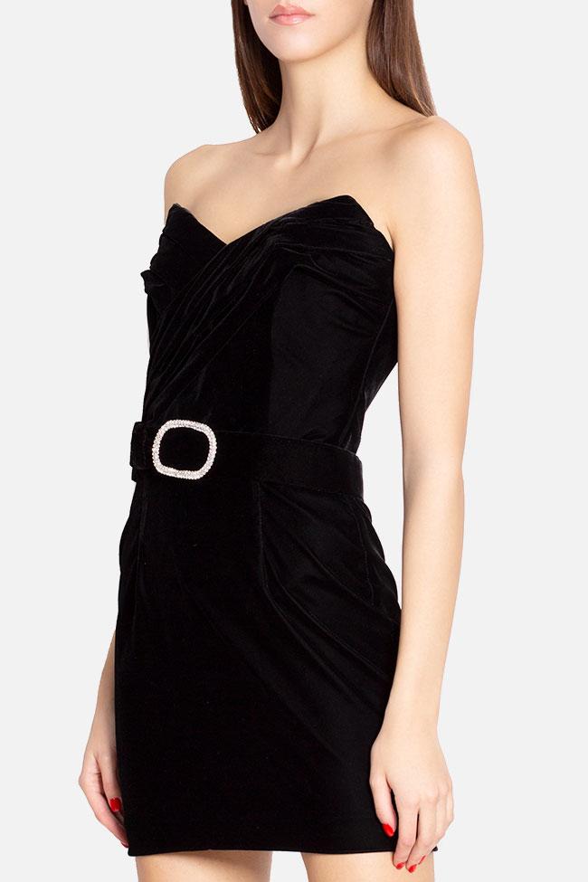Robe mini en velours avec ceinture ornée de strass Mirela Diaconu  image 0