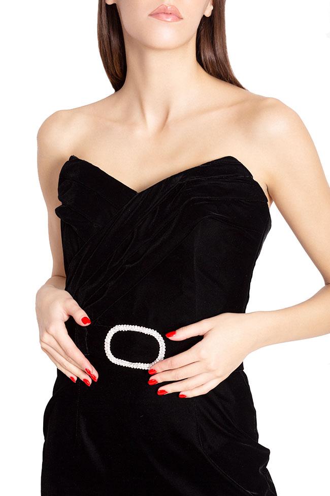Robe mini en velours avec ceinture ornée de strass Mirela Diaconu  image 3