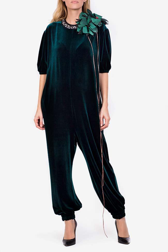 Embellished velvet tafftea jumpsuit Marius Musat image 0