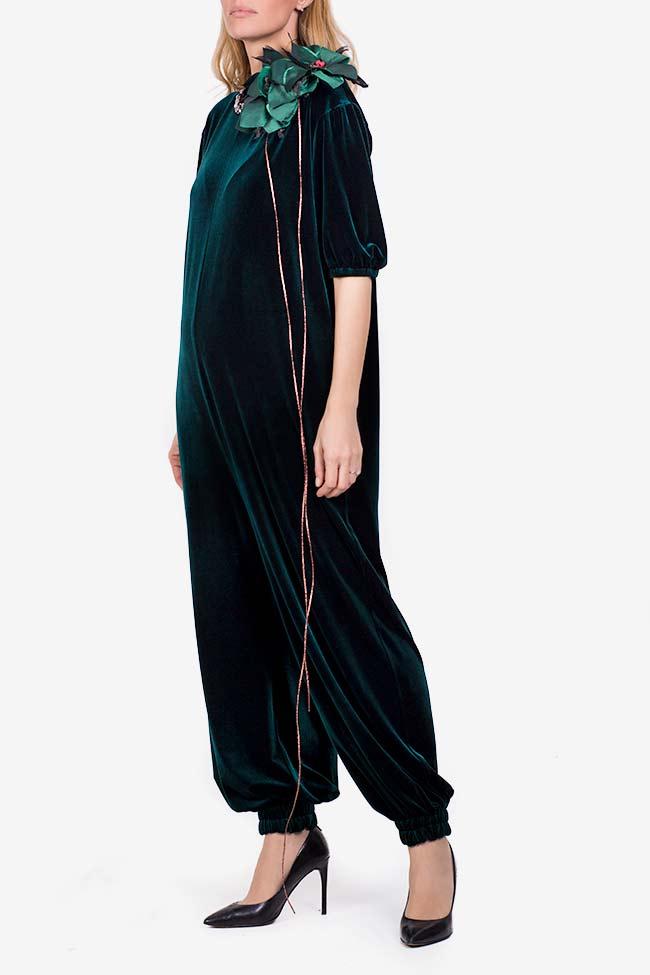 Embellished velvet tafftea jumpsuit Marius Musat image 1