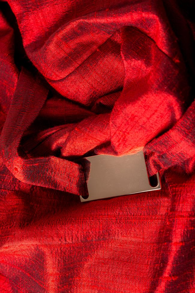 Bluza asimetrica din shantung de matase cu peplum LOOMY imagine 4