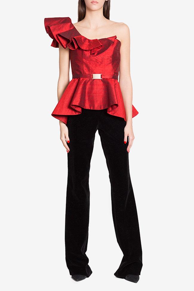 Bluza asimetrica din shantung de matase cu peplum LOOMY imagine 1