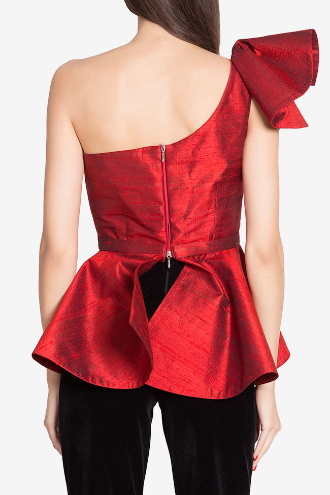 Bluza asimetrica din shantung de matase cu peplum LOOMY imagine 2