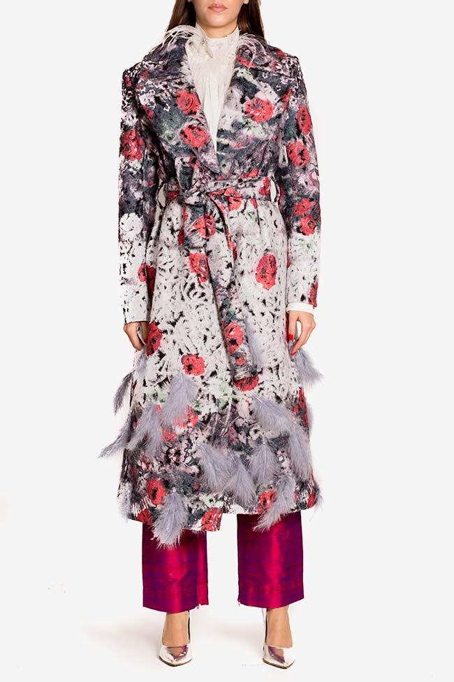 Manteau en laine avec applications de plumes et cristaux LOOMY image 1