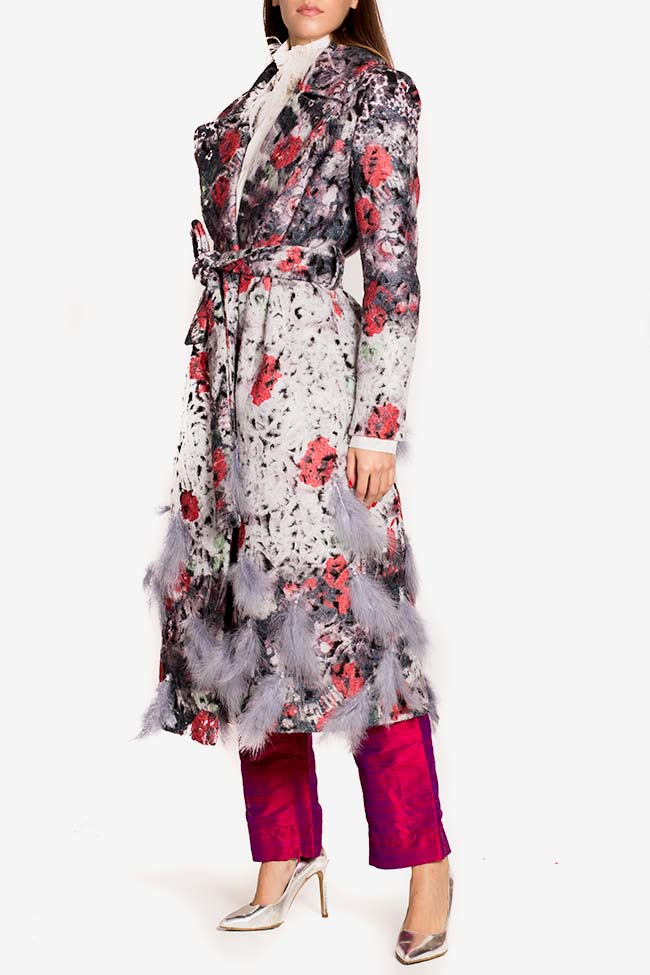 Feather-trim belted wool coat LOOMY image 0