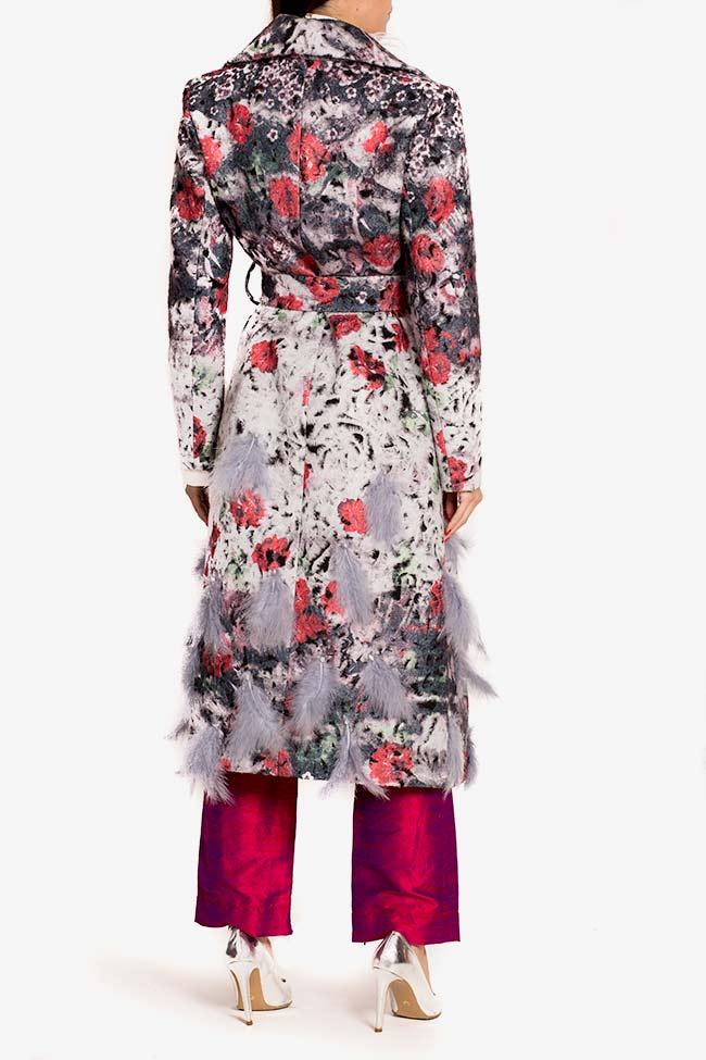 Palton din lana cu aplicatii din pene si cristale  LOOMY imagine 2