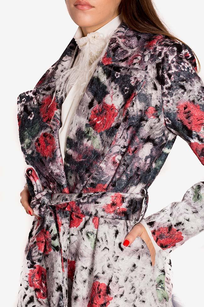 Manteau en laine avec applications de plumes et cristaux LOOMY image 3