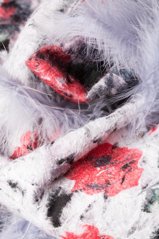 Palton din lana cu aplicatii din pene si cristale  LOOMY imagine 4