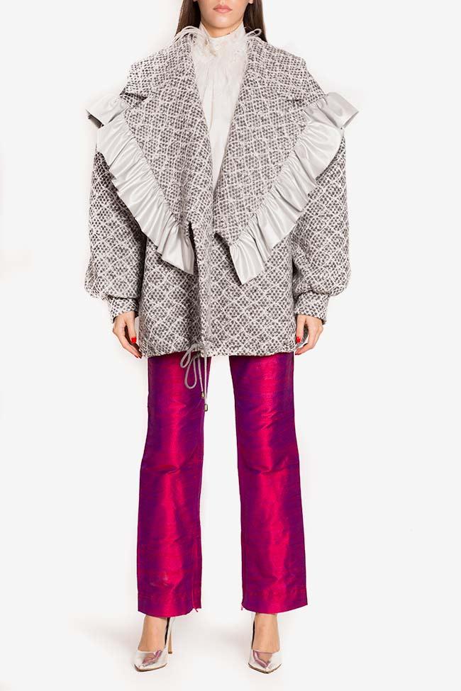 Blazer surdimensionné en laine avec volants en cuir écologique LOOMY image 1