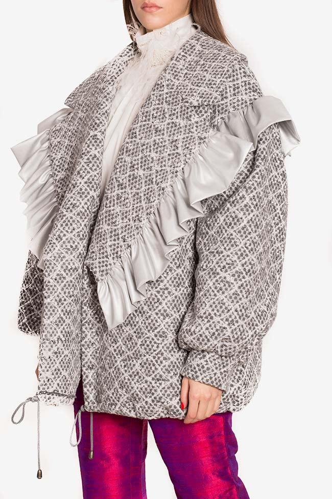 Blazer surdimensionné en laine avec volants en cuir écologique LOOMY image 0