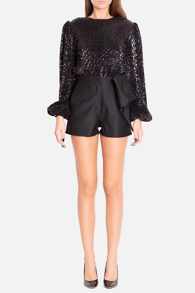 Bow-embellished wool-blend shorts Mirela Diaconu  image 1