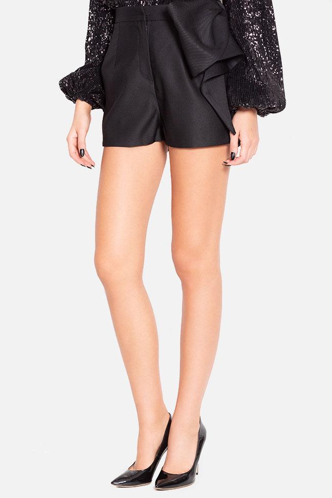 Bow-embellished wool-blend shorts Mirela Diaconu  image 0