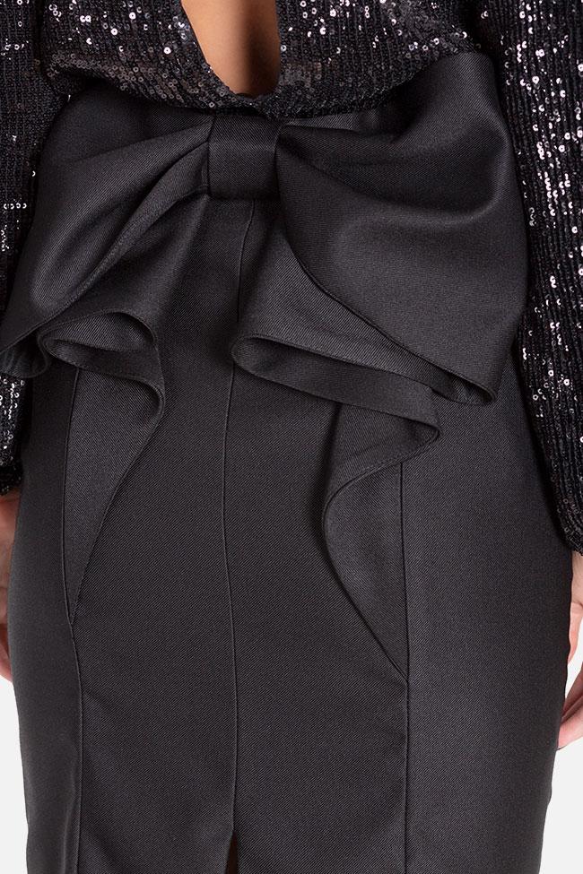 Fusta din stofa din amestec de lana cu funda Mirela Diaconu  imagine 3