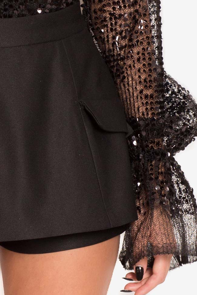 Mini-jupe short en laine Mirela Diaconu  image 3