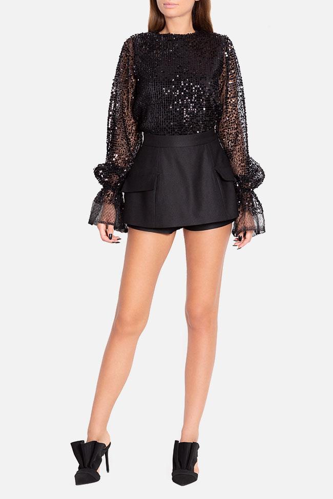 Mini-jupe short en laine Mirela Diaconu  image 1