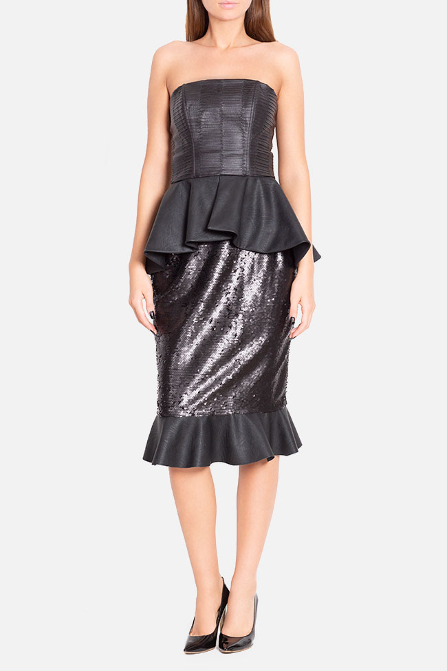Faux-leather paneled sequined tulle midi skirt LOOMY image 1