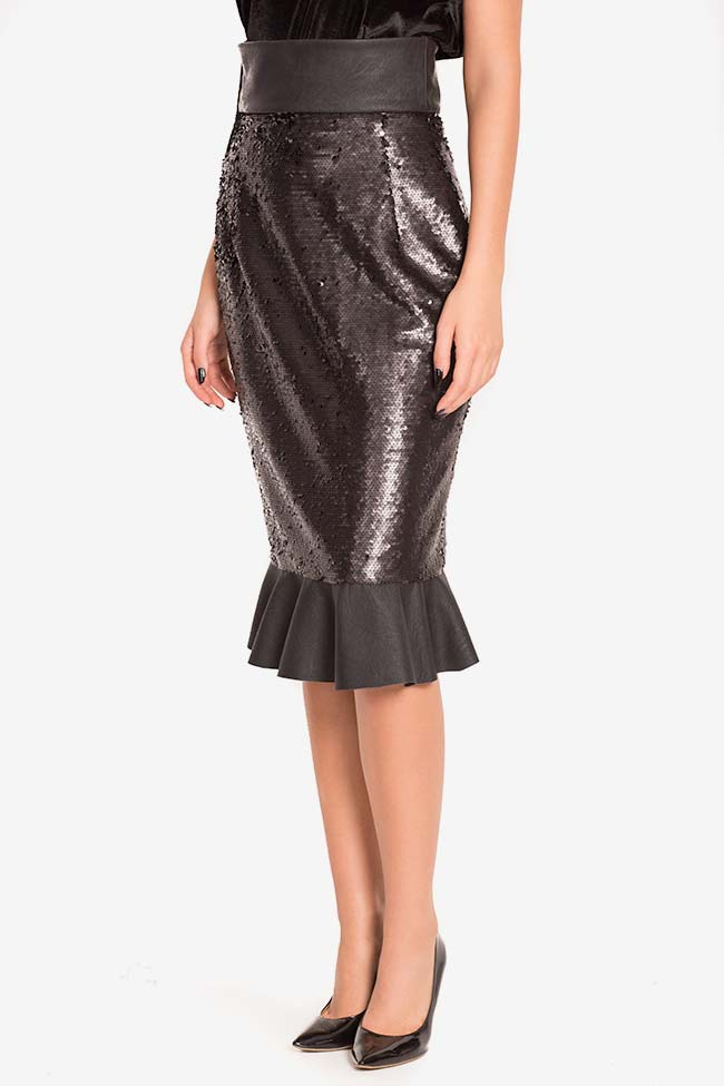 Faux-leather paneled sequined tulle midi skirt LOOMY image 0