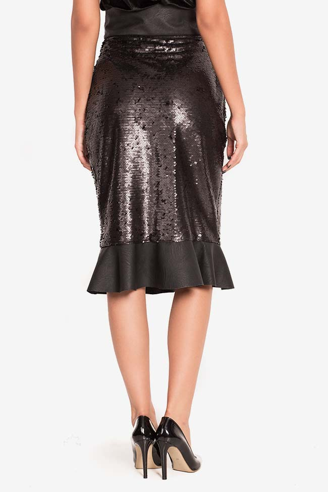 Faux-leather paneled sequined tulle midi skirt LOOMY image 2