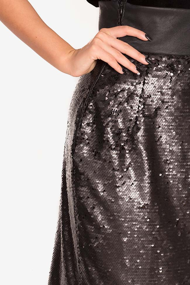 Faux-leather paneled sequined tulle midi skirt LOOMY image 3
