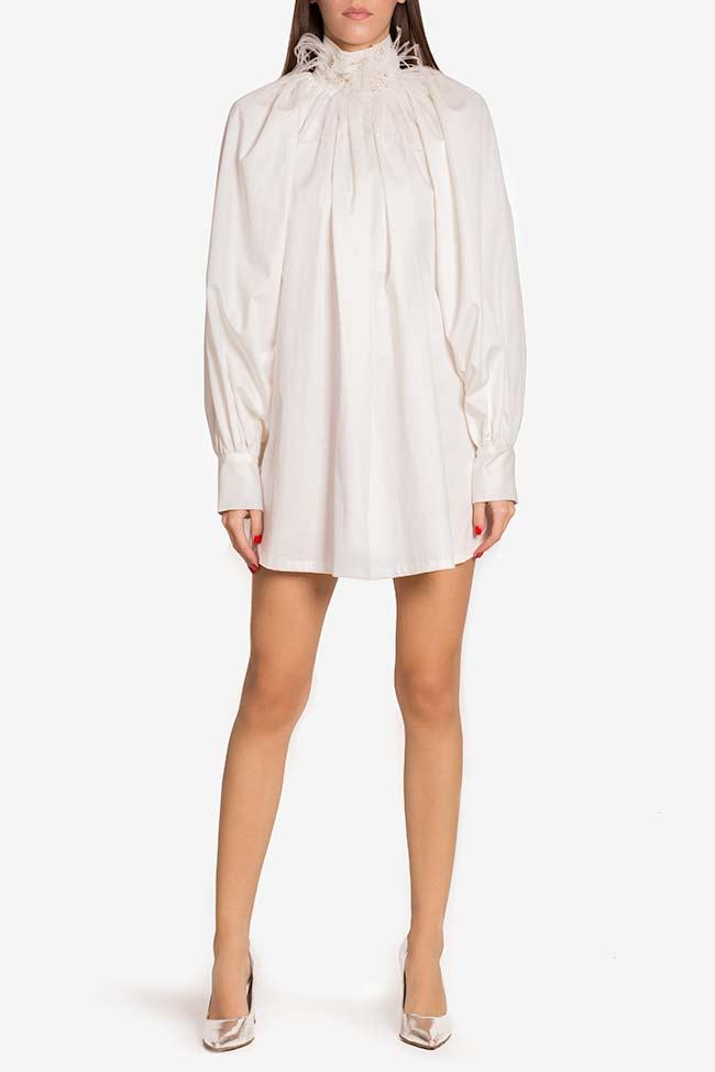 Crystal-embellished cotton-blend poplin mini dress LOOMY image 1